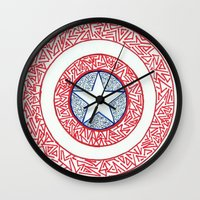 superheros Wall Clocks featuring The Shield by Katie Kephart