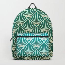 Teal golden Art Deco pattern Backpack