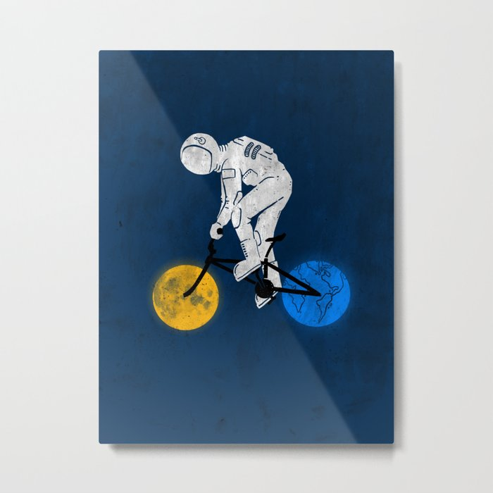 Astronaut on bicycle Metal Print