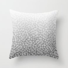 Gradient black and white swirls doodles Throw Pillow