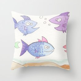 Happy Fish! by Cassie, Group of 5 Throw Pillow