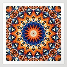 Geometric Orange And Blue Symmetry Art Print