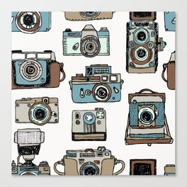 Hand drawn seamless pattern of old fashioned photo camera Canvas Print