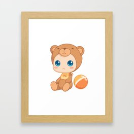 Baby in a Bear Jumpsuit Framed Art Print
