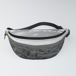 Old village panorama, black and white photography Fanny Pack