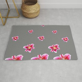 STRAWBERRY COLORED ASIAN LILIES GREY ART Rug