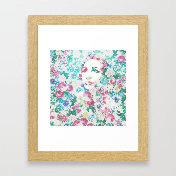 Rose Lady, Light Floral Patch Framed Art Print