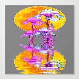 PURPLE-WHITE IRIS MOON REFLECTION Canvas Print