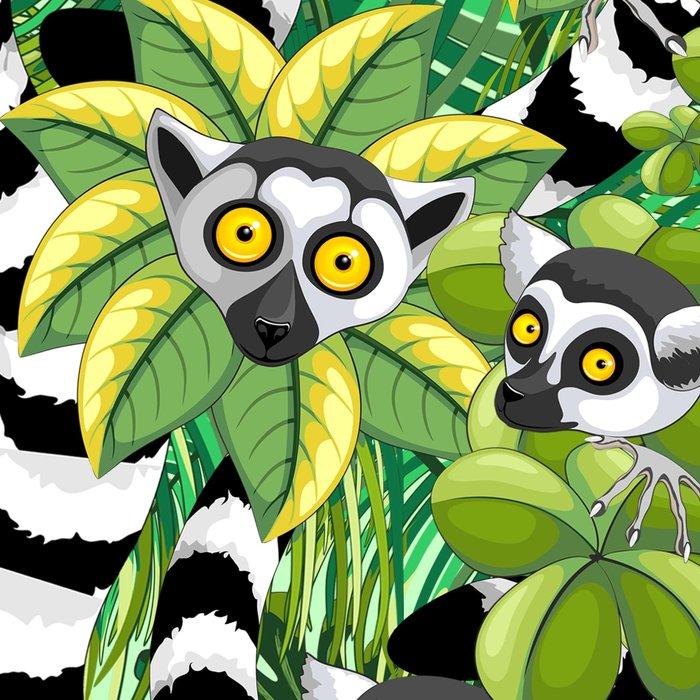 Lemurs on Madagascar Rainforest Leggings