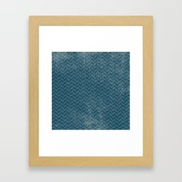 Vintage blue gray abstract geometric chevron pattern Framed Art Print