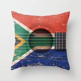 Old Vintage Acoustic Guitar with South African Flag Throw Pillow