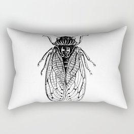 Black and White Cicada Rectangular Pillow