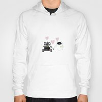 pixar Hoodies featuring pixar walle and eve love and romance... minimalistic by studiomarshallarts