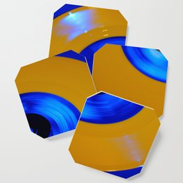 Yellow Blue Record Coaster
