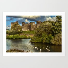 Caerphilly Castle Western Towers Art Print