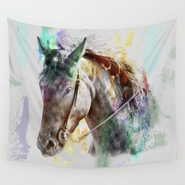 Watercolor Horse Portrait Wall Tapestry