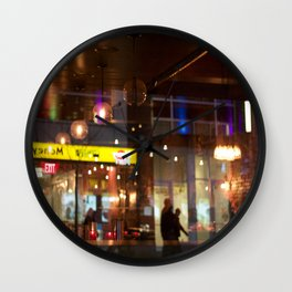 Window reflection Granville St Vancouver Wall Clock