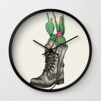 shoe Wall Clocks featuring Shoe Bouquet II by The White Deer