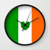 irish Wall Clocks featuring IRISH LOVE by shannon's art space