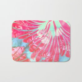 Blue Water Hibiscus Snowfall Bath Mat