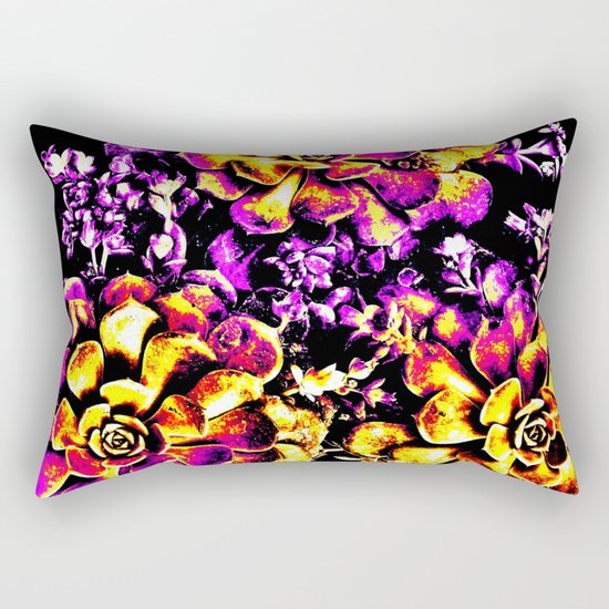 Purple Yellow Flower Plant, Pop Art Rectangular Pillow