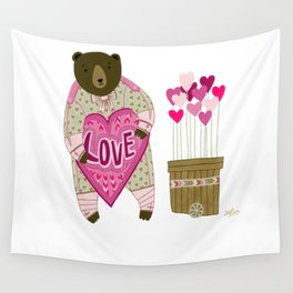 Bear with loveheart Wall Tapestry