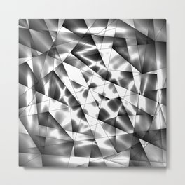Exclusive deep mosaic monochrome pattern of chaotic black and white glass fragments, metal, glare. Metal Print