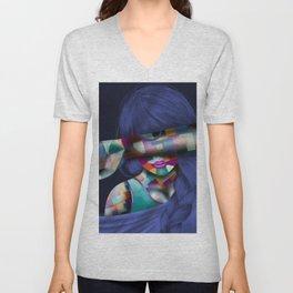 Hidden Mosaic Abstract Woman Unisex V-Neck