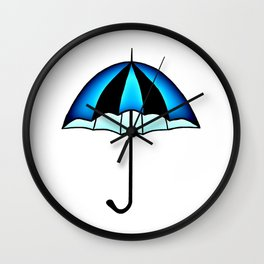 Bright Blue Black Rain Umbrella Illustration Wall Clock
