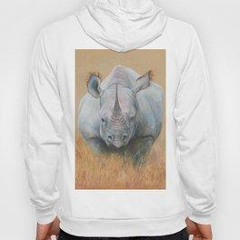 RHINOCEROS Wildlife African animal Safari style Realistic pastel drawing Hoody