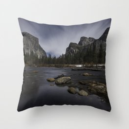 Yosemite Valley by Moon Throw Pillow