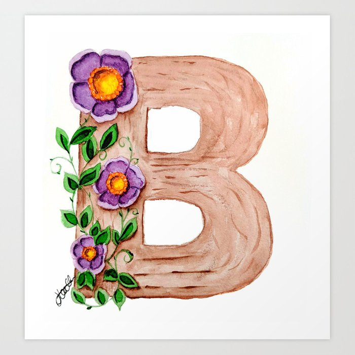 Wooden Block Letter B - floral series Art Print by kraaftshaak