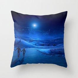 night ice pair light moon skating rink art lodge smoke Throw Pillow
