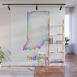 Rainbow Indiana map Wall Mural