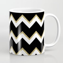 Black Gold White Chevron Pattern Coffee Mug