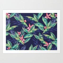 Tropical Flowers & Leaves Art Print