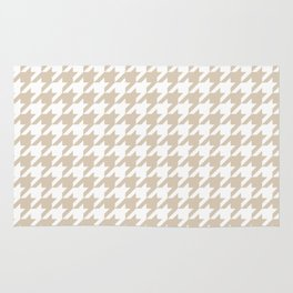 Houndstooth: Beige & White Checkered Design Rug