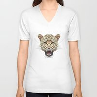 leopard V-neck T-shirts featuring Leopard by dailydunners