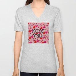 Valentine XOXO YOU Heart Pattern Unisex V-Neck