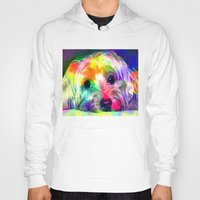 yorkie Hoodies featuring Colorful Yorkie By Annie Zeno  by Annie Zeno