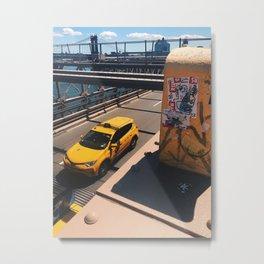 New York taxi on Brooklyn Bridge Metal Print