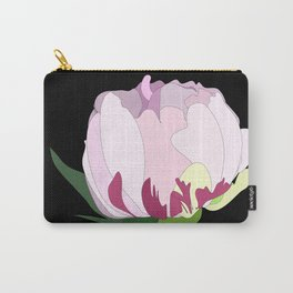 Pink peony closed flower on black background Carry-All Pouch