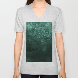 Green deep forest faux glitter ombre on green watercolor Unisex V-Neck