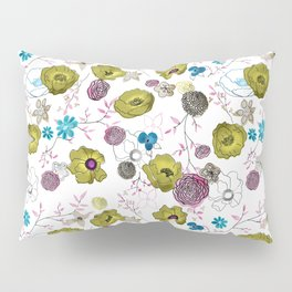Snow large floral on white Pillow Sham