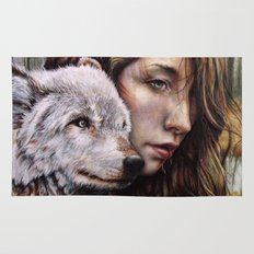 The Girl and the Wolf Rug