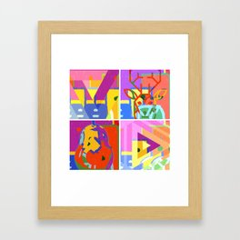 colorful deer and pear Framed Art Print