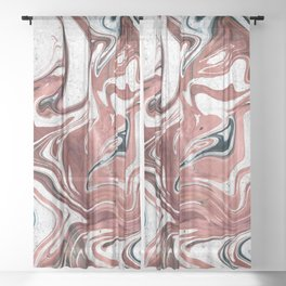 Marble Paint Swirl Trendy Abstract Glitter Rose Gold Teal Green White Sheer Curtain