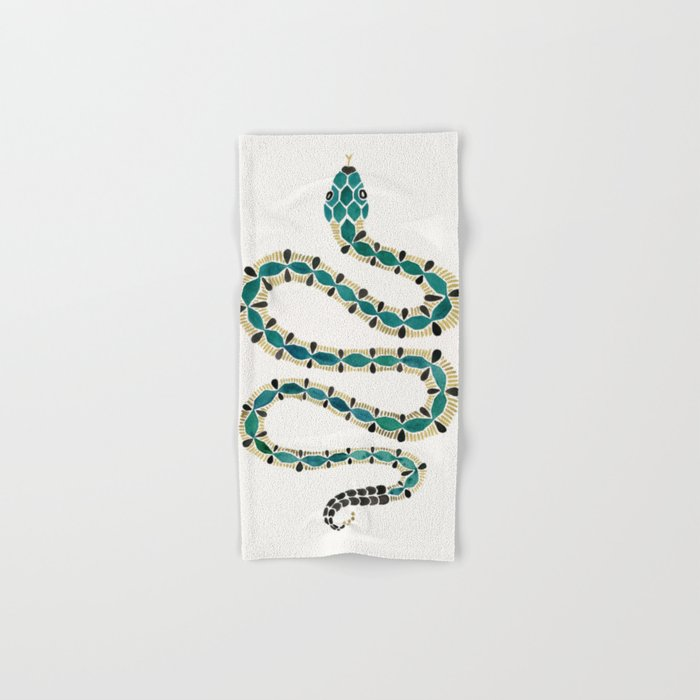 Emerald & Gold Serpent Hand & Bath Towel