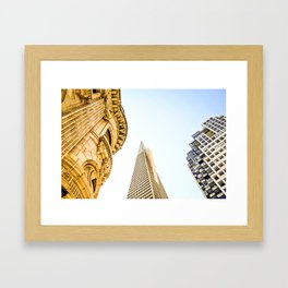 pyramid building and modern building and vintage style building at San Francisco, USA Framed Art Print