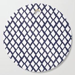 Rhombus White And Blue Cutting Board